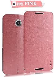 Pudini Flip Case Cover w/Vacuum Clip, Rain Series, Matte Finish for Motorola Google Nexus 6 - PINK