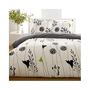 Modern White Black Comforter Floral Bedding Set with Shams (full/queen)