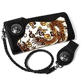 売れ筋 本牛革 本馬毛 ハラコ素材 ドラゴンアート 長財布 ブラック ウォレットチェーン付き 在庫薄 アート 竜 龍