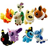 "Lot of 8 PCS Pokemon Pokedoll Plush Toy Soft Doll Set 5"" Collectible Doll (Buy Reward: 1pcs Littlest Pet Shop Bird Rare Figure)"