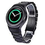 Gear S2 Bands V-Moro Solid Stainless Steel Metal Replacement Band With AdaptersFor Samsung Gear S2 Smart Watch (Metal Black)