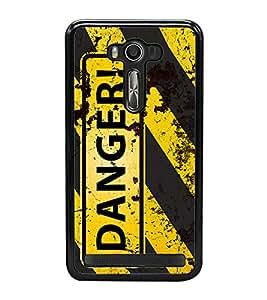Danger 2D Hard Polycarbonate Designer Back Case Cover for Asus Zenfone Selfie ZD551KL