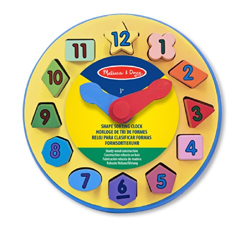Melissa & Doug Wooden Shape Sorting Learning Clock - 1