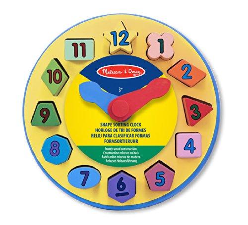 Melissa & Doug Wooden Shape Sorting Learning Clock - 1