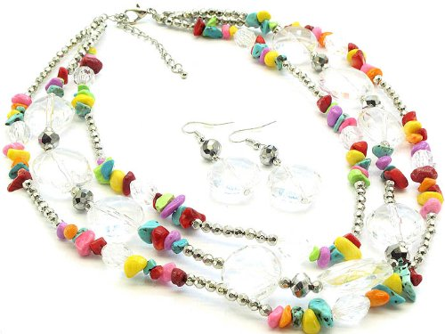 NECKLACE AND EARRING SET 3 STRAND LUCITE MULTI Fashion Jewelry Costume Jewelry fashion accessory Beautiful Charms