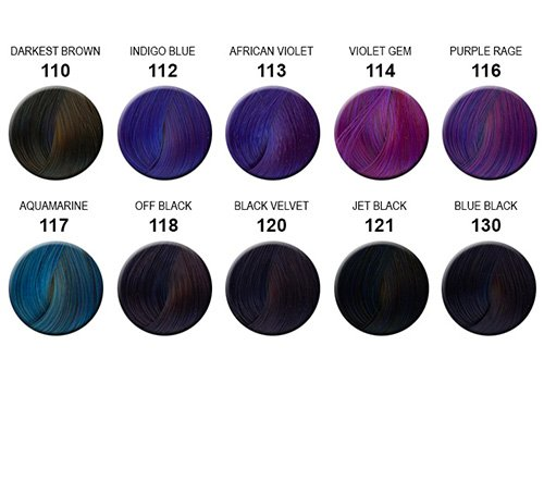 Blue Black Hair Color Chart