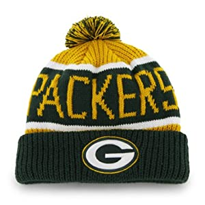 Green Bay Packers Cheddar Calgary Beanie Hat with Pom - NFL Cuffed Winter Knit Toque... by Forty Seven 47 Brand