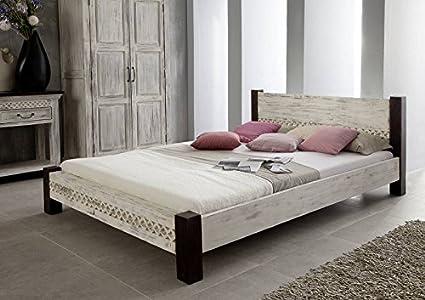 Mango de madera maciza con estilo colonial muebles cama 160 x 200 de madera de acacia maciza con estilo colonial muebles madera maciza Castle-metalizados #402