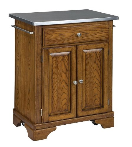 Cheap Kitchen Cart with Stainless Steel Top in Oak Finish (VF_HY-9003-0062)
