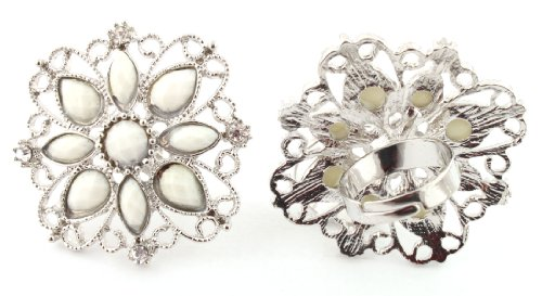 Ladies White Antique Styled Flower Metal Adjustable Finger Ring
