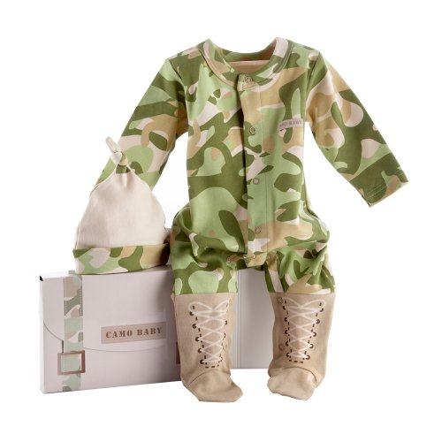 "Baby Aspen ""Big Dreamzzz"" Baby Camo Two-Piece Layette Set in ""Backpack"" Gift Box, Tan"