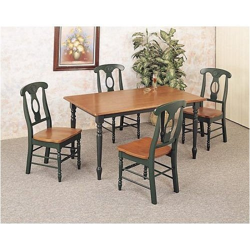 Picture of Coaster 5 Piece Oak-Hunter Green Dinette Set By Coaster Furniture (VF_AZ01-13662) (Dinette Sets)