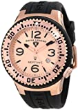 Swiss Legend Mens 21848P-RG-09 Neptune Rose Dial Black Silicone Watch