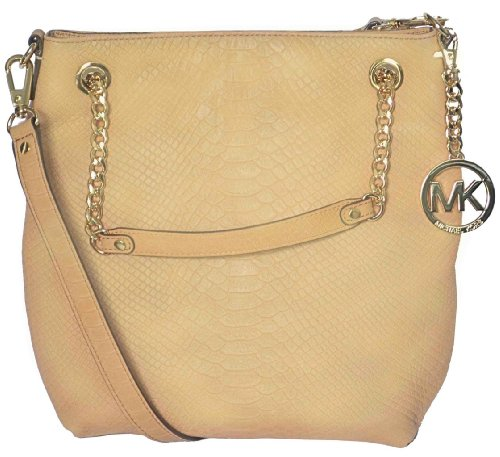 Michael Kors Tan Python Embossed Leather Jet Set MD Chain Tote Shoulder Bag Handbag Purse