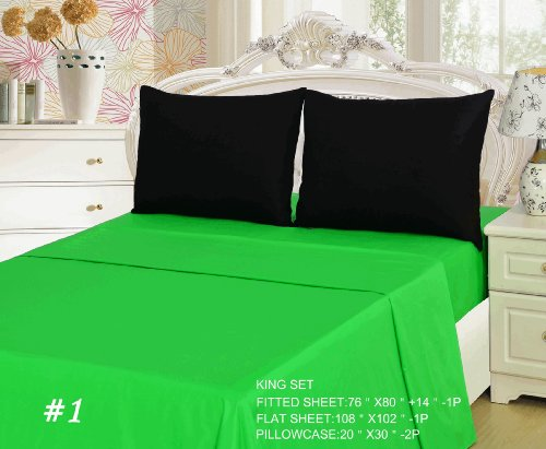 Tache 4 Piece 100% Cotton Lime Green And Black Bed Sheet Set-King