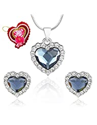 Mahi Montana Blue Titanic Heart Pendant Set Made With Swarovski Elements With Heart Shaped Card For Women NL5104118RBluCd