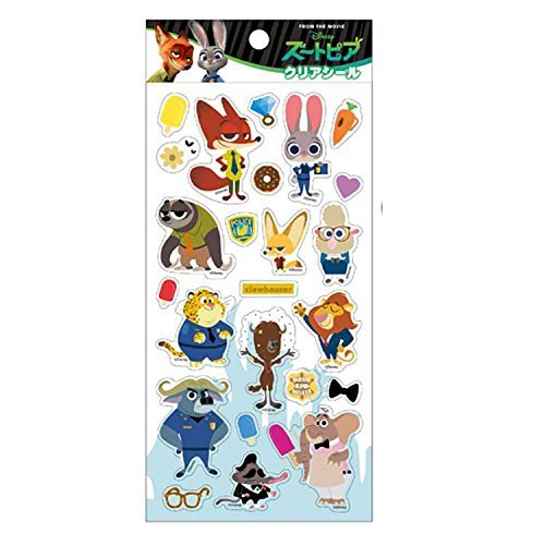 Japan Walt Disney Official Zootopia - Judy and Nick Clear Trading Stickers Set Vinyl Decal DIY [Made in Japan]