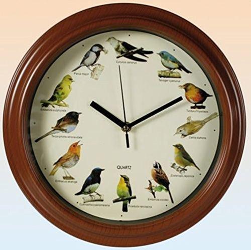 Wanduhr SingvOgel Holz Mit Rc Funkquarzwerk ~ SSITG Wanduhr Birds Mit Vogelstimmen Uhr Kinderuhr 31cm Wanduhren