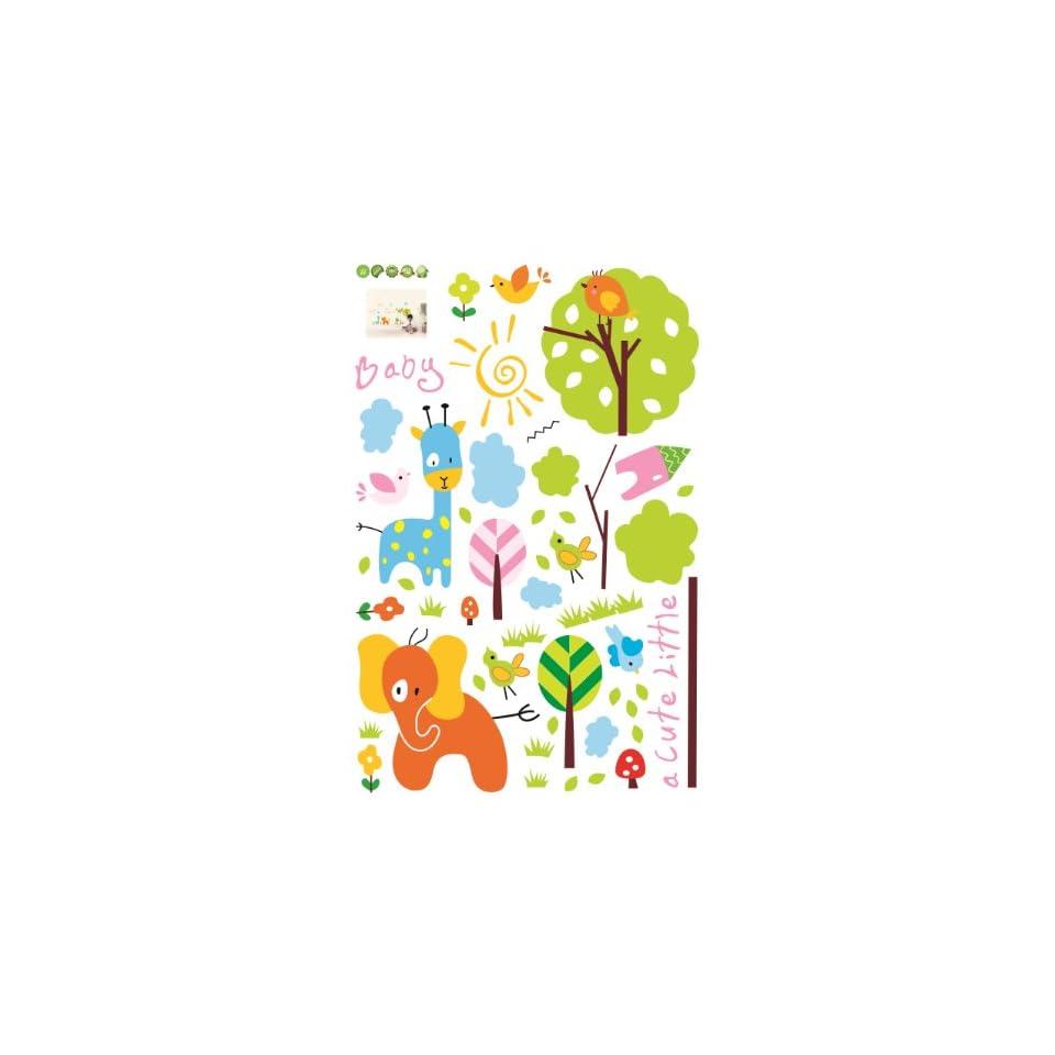 Baby Animals Trees Birds Nursery/Kids Room Peel & Stick Wall Decal