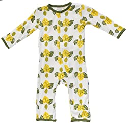 KicKee Pants Neutral Baby Onepiece Coverall Romper-Natural Breadfruit, 0-3 Months