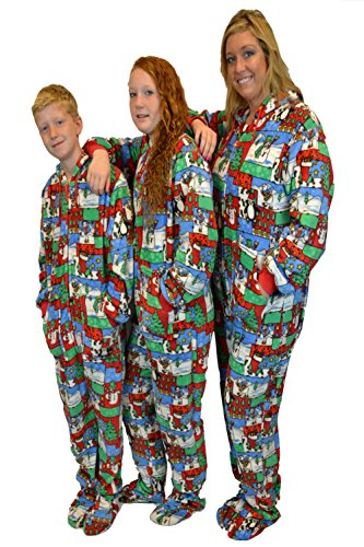Ugly Christmas Sweater Hoodie Plush Footed Pajamas Onesie w/ Drop Seat (S) (Adult Hooded Blanket compare prices)