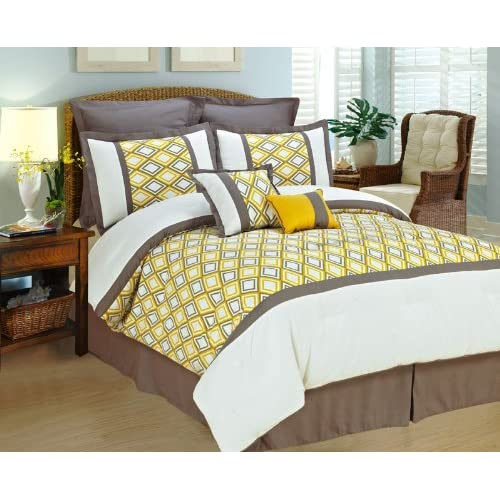 Yellow Gray Bed In A Bag : Comforter set yellow white gray bed in a bag king size
