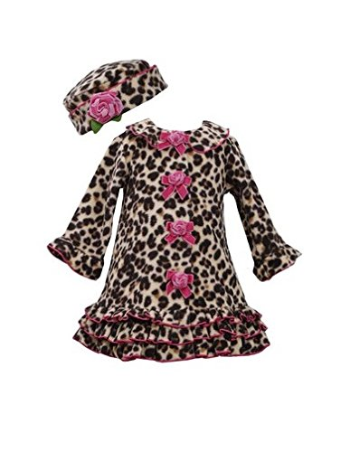 Bonnie Baby Girls' Leopard Print Fleece Dress Coat & Hat 6-9M (B03134) front-1026330