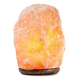Hemingweigh Himalayan Glow Hand Carved Natural Crystal Himalayan Salt Lamp With Genuine Wood Base 8 to 10 Inch Lamp, Bulb And On and Off Switch 8 to 10 Inch, 7 to 13 lbs.