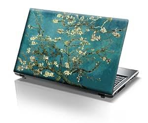 """TaylorHe Skins 15,6"""" Autocollants en vinyle coloré avec motif pour ordinateur portable (38cm x 25,5cm) Laptop Skin bleu / vert arbre en fleurs"""