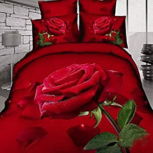 Amazon.com: 3D Oil Painting Red Rose Wedding Bedding Sets,(1PC Duvet