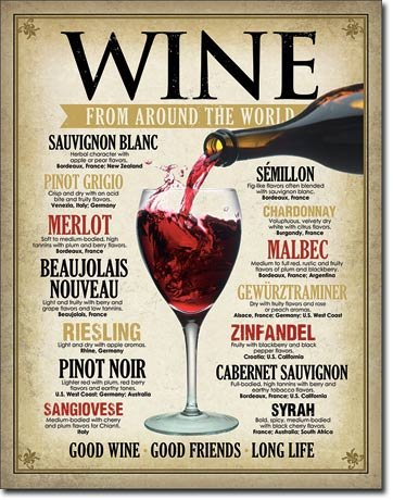 Wine Around the World Tin Sign 13 x 16in (Wine Tasting Sign compare prices)