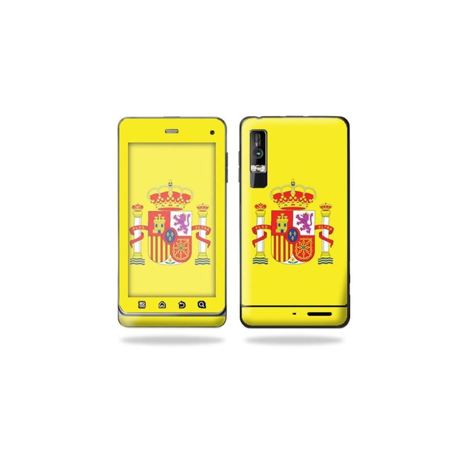 Protective Vinyl Skin Decal Cover for Motorola Droid 3 Android Smart Phone Cell Phone Sticker Skins   Spain Flag