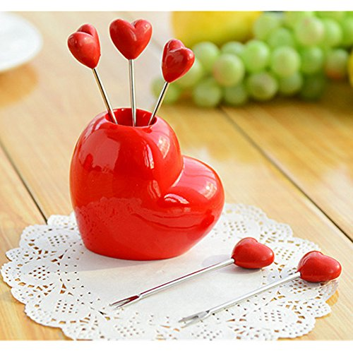 EQLEF® Un ensemble de 5 PCS-forme Amour Creative Fruit Forks Beau Dessert Forks embellies fruits Forks