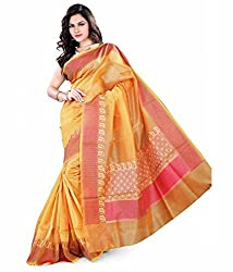 Asavari Fresh Mustard Yellow Cotton Banarasi Saree