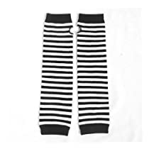 Allegra K Lady Decor White Black Stripe Pattern Elastic Fingerless Arm Warmer Gloves Pair