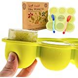 Baby Food Freezer Storage Tray - FDA and BPA Approved - Tutti Bimbi Silicone Freezer Tray with Clip-on Lid for Easy Homemade Baby Food or Breastmilk Storage - 9 Easy-Out Portions - FREE 18 Recipe E-Book **Lifetime Guarantee**