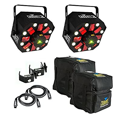(2) Chauvet SWARM 5 FX RGBAW LED DJ Derby Laser Lights w/ Bags, Cables & Clamps