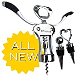 Cuisavour's Deluxe Butterfly Corkscrew Bottle Opener - Professional Wine Cork Screw Remover - Zinc Alloy Angel Screwpull & Unique Double Hinged Lever Design - Light Waiters Swivel Wing Stainless Steel Set with Good Grips - Vintage Multitool Gift Set with Ergonomic Handles - 100% Lifetime Guarantee
