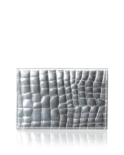 Graphic Image Women's Foldover Card Case, Silver Metallic Croc