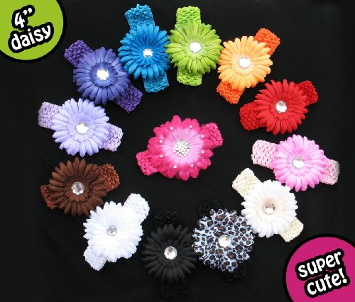 13 Assorted Large Gerber Daisy Flower Hair Clip Bows with Soft Stretch Crochet Child Headbands - Will Fit Infant Baby to Toddlers to Youth Girls