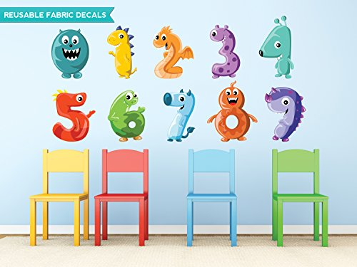Sunny Decals Monster Numbers Fabric Wall Decals, Large