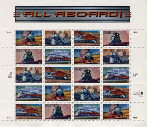 All Aboard Railroad Collectible Stamp Sheet of 20  33 Cent Stamps Scott 3337a - 1