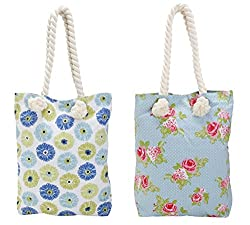 Home Colors Cotton Ladies Handbag Combo (Floral, Rose)