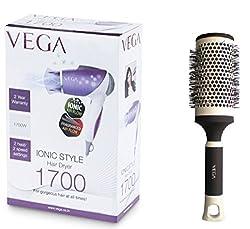 Vega VHDH -11 Iconic Style Hair Dryer + Hot Curl Brush - Large ( H1-PRL)