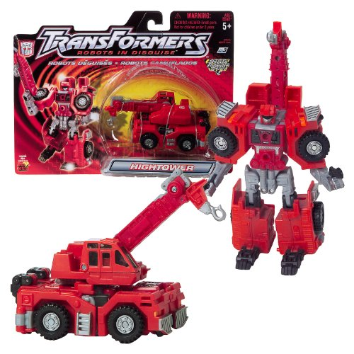 "Hasbro Year 2001 Transformers ""Robots In Disguise"" Combiners Series 6 Inch Tall Robot Action Figure - Autobot Crane HIGHTOWER with Crane that Change to Rifle Blaster (Vehicle Mode: Construction Crane)"
