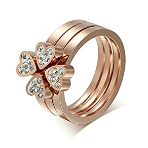 Daesar Stainless Steel Rings Four Heart Puzzle Rings Rose Gold Wedding Bands Set For Women Size 7