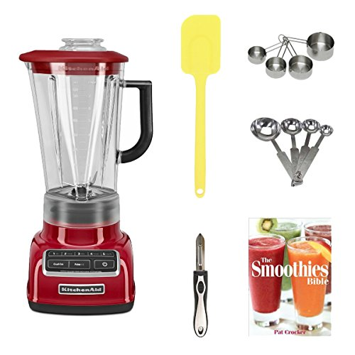 Kitchenaid Ksb1575Er 5-Speed Diamond Blender With 60-Ounce Bpa-Free Pitcher (Empire Red) + Stainless Measuring Cup Set + Stainless Steel Measuring Spoon Set + Silicone Spatula + Vegetable Peeler + The Smoothies Bible
