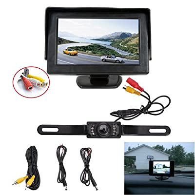 "AGPtek® Rear View Camera Adjustable Monitor Back up LED Night Vision CMOS Wide Angle Cam w/7 4.3"" TFT LCD Screen & Back up License Plate"