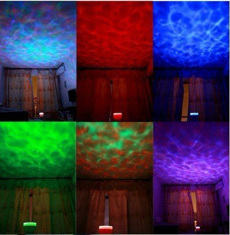 Happyhomestation Multicoloured Ocean Relax Night Light Projector Pot Music Input,Ocean Light,Ocean Lamp,Music Projection,Waterproof(Automatic Sleep Function,Built-In Mini Speaker, Can Be As Mp3 Speakers)