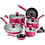 T-fal C729SE Excite Nonstick Thermo-Spot Dishwasher Safe Oven Safe PFOA Free Cookware Set, 14-Piece, Pink